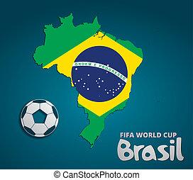 brazília, térkép, kártya, dolgozat, 3, természetes, helyett, 2014, fifa, világbajnokság