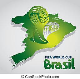 brazília, térkép, kártya, dolgozat, noha, világbajnokság, ikon