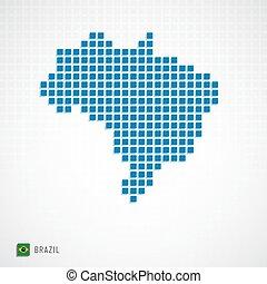 brazília, térkép, lobogó, ikon