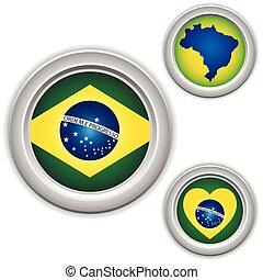 brazília, térkép, lobogó, szív, gombok