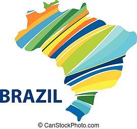 brazília, térkép, színes, elvont, elszigetelt, rio, vektor,...