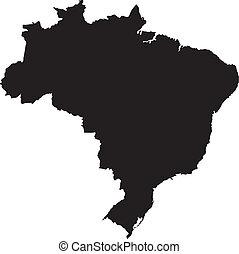 brazília, térkép, vektor, ábra