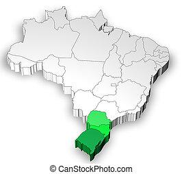 brazília, térkép, vidék, 3 dimensional, déli