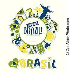 brazília, vektor, ábra