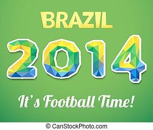 brazíliai, 2014, világ, cup., vektor, ábra, helyett, sport, esemény