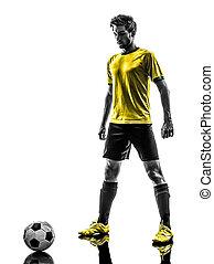 brazíliai, futball foci, játékos, fiatalember, árnykép