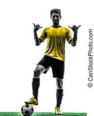 brazíliai, futball foci, játékos, fiatalember, tiszteleg,...