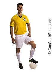 brazíliai, futball játékos, misét celebráló, képben látható, egy, fehér, háttér.
