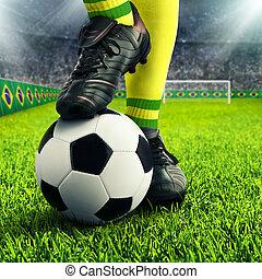 brazíliai, futball, player's, lábak