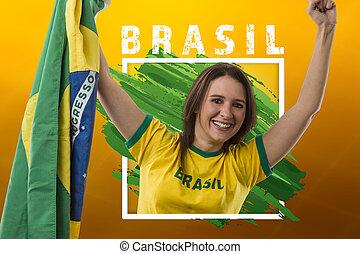 brazíliai, nő, rajongó, misét celebráló