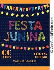 brazílie, červen, strana, pozvání, plakát