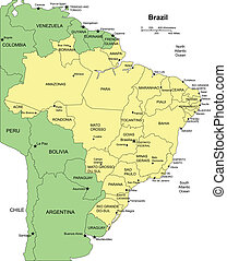 Brazil, editable vector map broken down by administrative districts includes surrounding countries, in color with cities, district names and capitals, all objects editable. Great for building sales and marketing territory maps, illustrations, web graphics and graphic design. Includes sections of ...