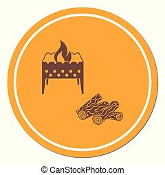 Brazier and firewood icon