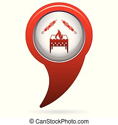 Brazier grill with kebab icon. Vector illustration