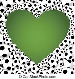 Brazil 2014 soccer balls, heart shape illustration
