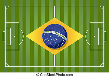 Brazil 2014 year football court soccer ball flag shape, world tournament concept illustration. Vector file layered for easy manipulation and custom coloring.
