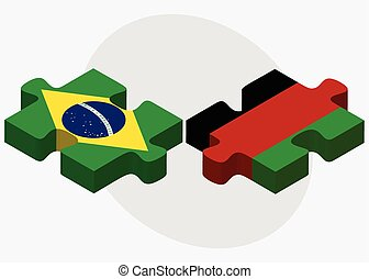 Brazil and Afghanistan Flags in puzzle isolated on white background