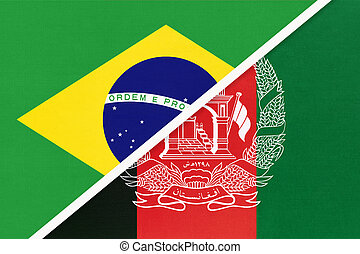 Brazil and Afghanistan, symbol of national flags from textile. Championship between two countries.