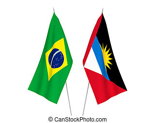 Brazil and Antigua and Barbuda flags - National fabric flags...