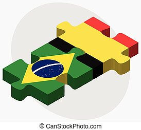 Brazil and Belgium Flags in puzzle isolated on white...