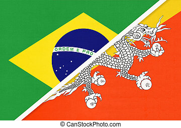 Brazil and Bhutan, symbol of national flags from textile. Championship between two countries.