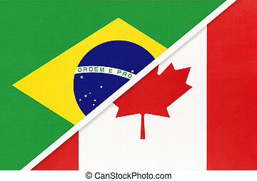 Brazil and Canada, symbol of two national flags from textile. Championship between two American countries.