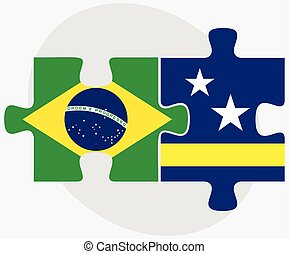 Brazil and Curacao Flags in puzzle isolated on white ...
