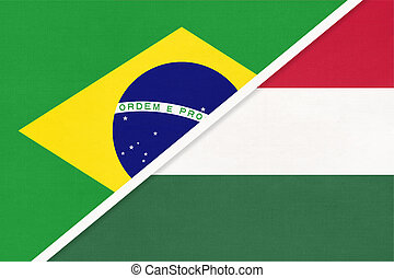 Brazil and Hungary, symbol of national flags from textile. Championship between two countries.