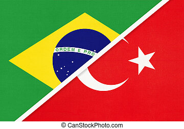 Brazil and Turkey, symbol of national flags from textile. Championship between two countries.