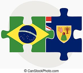 Brazil and Turks and Caicos Islands Flags in puzzle isolated...