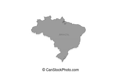 Brazil animated map with alpha channel. - Stylish and modern...
