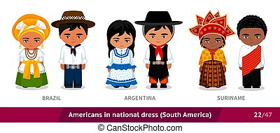 Brazil, Argentina, Suriname. Men and women in national dress...