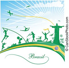 brazil background with flag and sport symbol