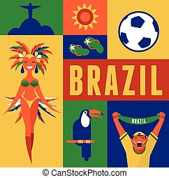 Brazil background with icons and illustration
