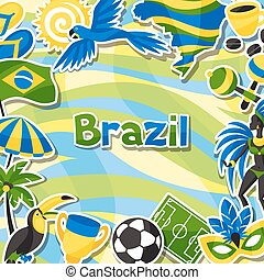 Brazil background with sticker objects and cultural symbols