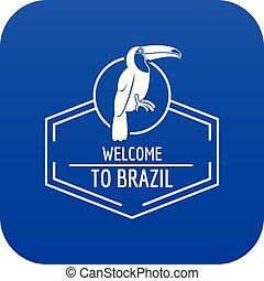 Brazil bird icon blue vector
