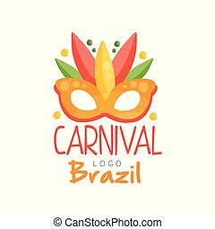 Brazil Carnival logo design, bright fest. ive party banner with mask vector Illustration on a white background