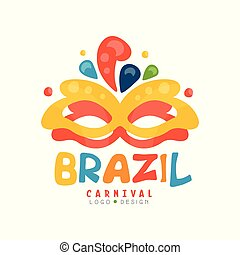 Brazil Carnival logo design, colorful fest. ive banner with party mask vector Illustration on a white background