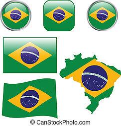 Brazil flag buttons - vector