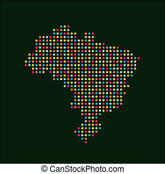 Brazil color dot map logo image