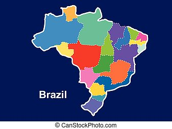Brazil colorful map in blue background, brazil map vector,...