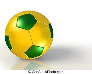 brazil colours on soccer ball on white background