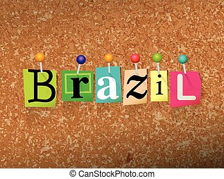 Brazil Concept Pinned Letters Illustration