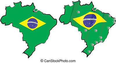 brazil - country and flag - brazil borderline with national ...