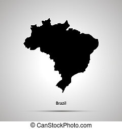 Brazil country map, simple black silhouette on gray