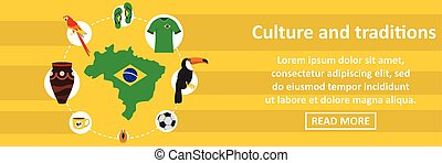 Brazil culture and traditions banner horizontal concept
