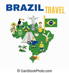 Brazil Culture Travel Agency Flat Poster