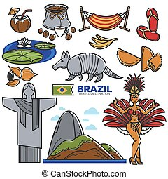 Brazil culture travel landmarks and famous sightseeing vector icons set