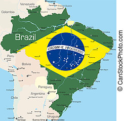 Brazil - Abstract color map of Brazil country colored by...