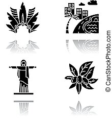 Brazil drop shadow black glyph icons set. Crown with plumage. South America cityscape. Christ the Redeemer. Religion sculpture. San Paulo. Rio de Janeiro. Isolated vector illustrations on white space